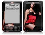 Denai Thomson Red and Black Teddy 02 - Decal Style Skin fits Amazon Kindle 3 Keyboard (with 6 inch display)